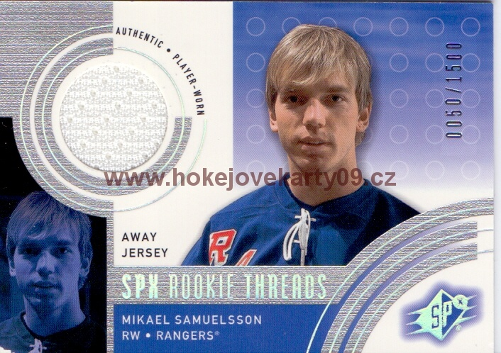 2001-02 SPx - Mikael SAMUELSSON č. 144 Rookie Threads