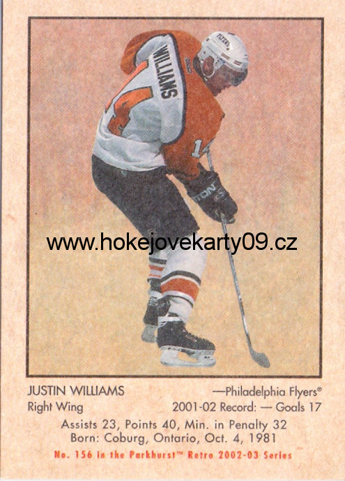 02-03 Parkhurst Retro - Justin WILLIAMS č. 156